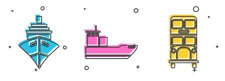 Set Cargo ship, Cargo ship and Double decker bus icon. Vector Vector Illustratie