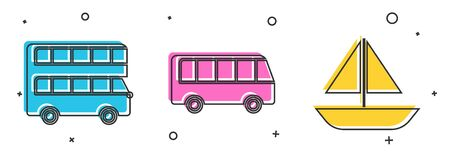 Set Double decker bus, Bus and Yacht sailboat or sailing ship icon. Vector