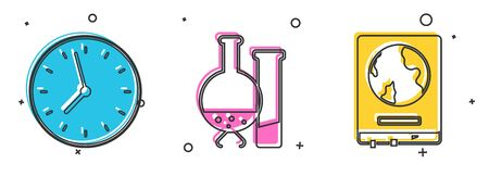 Set Clock, Test tube and flask chemical laboratory test and World map on a school blackboard icon. Vector