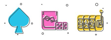 Set Playing card with spades symbol, Game dice and glass of whiskey with ice cubes and Slot machine icon. Vector 向量圖像