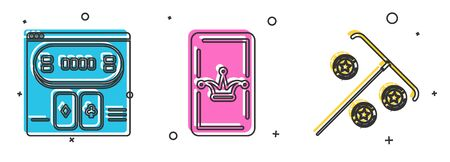 Set Online poker table game, Joker playing card and Stick for chips icon. Vector