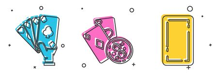 Set Hand holding playing cards, Playing cards and glass of whiskey with ice cubes and Playing card back icon. Vector