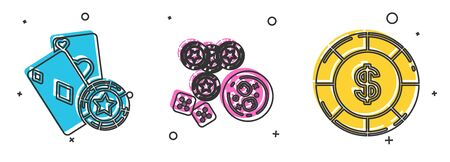 Set Casino chip and playing cards, Casino chips, game dice and glass of whiskey with ice cubes and Casino chip with dollar symbol icon. Vector 向量圖像