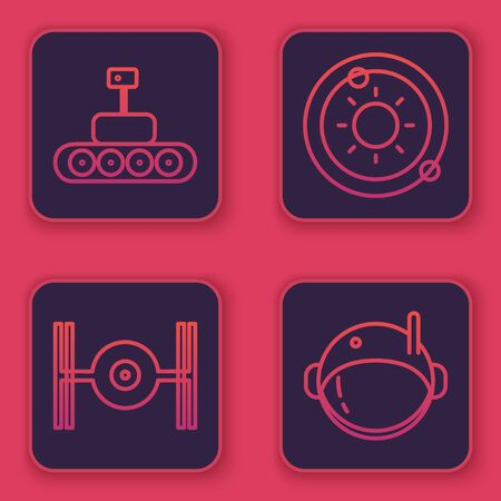 Set line Mars rover, Cosmic ship, Solar system and Astronaut helmet. Blue square button. Vector