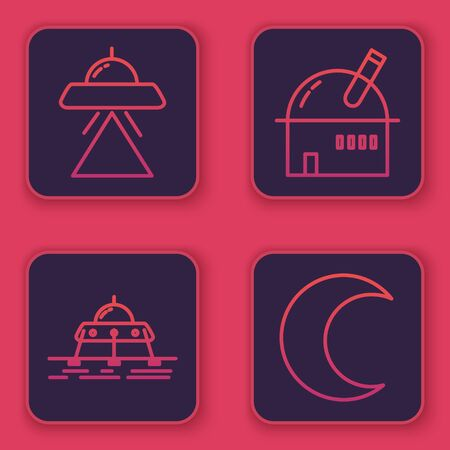 Set line UFO flying spaceship, Mars rover, Astronomical observatory and Moon and stars. Blue square button. Vector Vecteurs