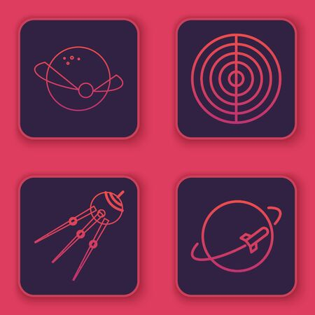 Set line Planet, Satellite, Earth structure and Planet. Blue square button. Vector Illustration