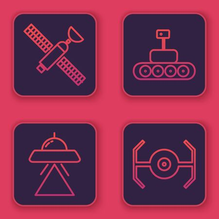 Set line Satellite, UFO flying spaceship, Mars rover and Cosmic ship. Blue square button. Vector