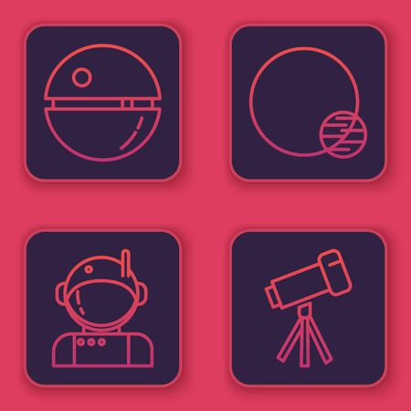 Set line Death star, Astronaut, Planet and Telescope. Blue square button. Vector
