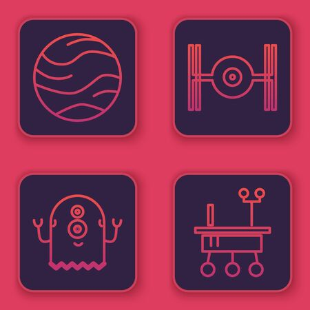 Set line Planet, Alien, Cosmic ship and Mars rover. Blue square button. Vector