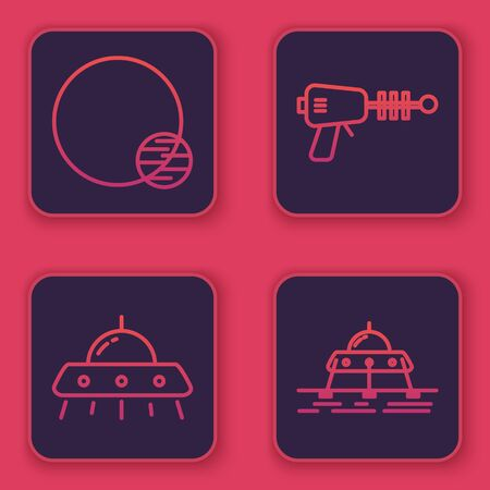 Set line Planet, UFO flying spaceship, Ray gun and Mars rover. Blue square button. Vector