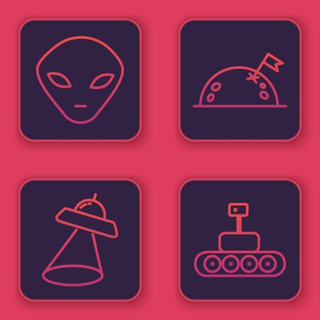 Set line Alien, UFO flying spaceship, Planet with flag and Mars rover. Blue square button. Vector