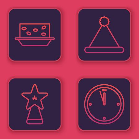 Set line Nougat with nuts, Christmas star, Christmas Santa Claus hat and Clock. Blue square button. Vector