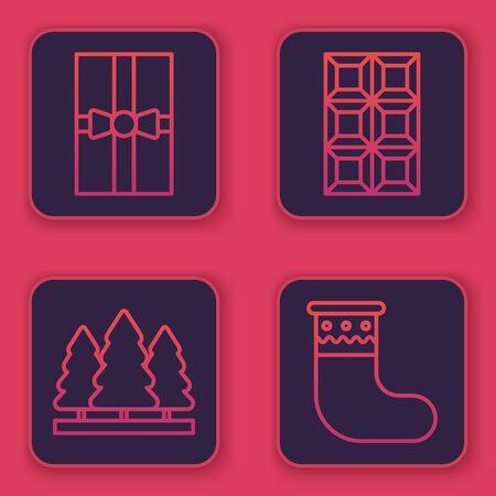 Set line Gift box, Christmas trees, Chocolate bar and Christmas stocking. Blue square button. Vector 일러스트