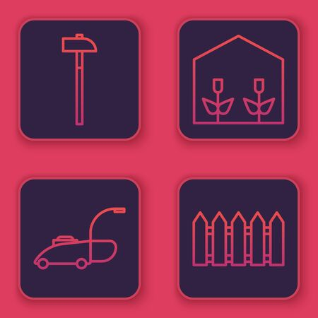 Set line Hammer, Lawn mower, Home greenhouse and plants and Garden fence wooden. Blue square button. Vector