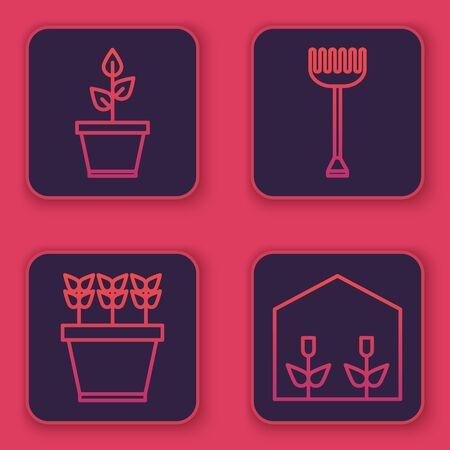 Set line Plant in pot, Plants in pot, Garden rake and Home greenhouse and plants. Blue square button. Vector