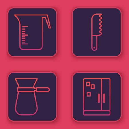 Set line Measuring cup, Coffee turk, Bread knife and Refrigerator. Blue square button. Vector Stock Illustratie