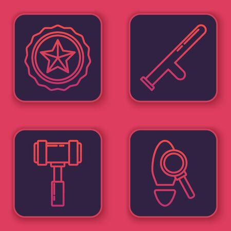 Set line Police badge, Judge gavel, Police rubber baton and Magnifying glass with footsteps. Blue square button. Vector