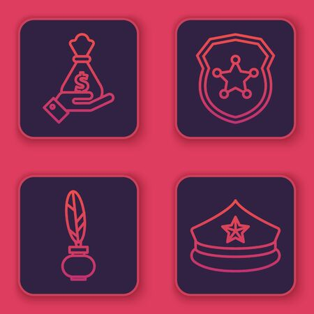 Set line Hand holding money bag, Feather and inkwell, Police badge and Police cap with cockade. Blue square button. Vector 일러스트