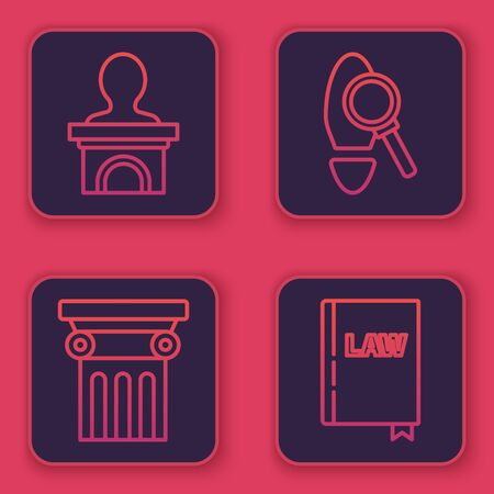 Set line Stage stand or debate podium rostrum, Law pillar, Magnifying glass with footsteps and Law book. Blue square button. Vector
