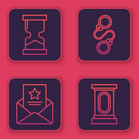 Set line Old hourglass, The arrest warrant, Handcuffs and Stage stand or debate podium rostrum. Blue square button. Vector