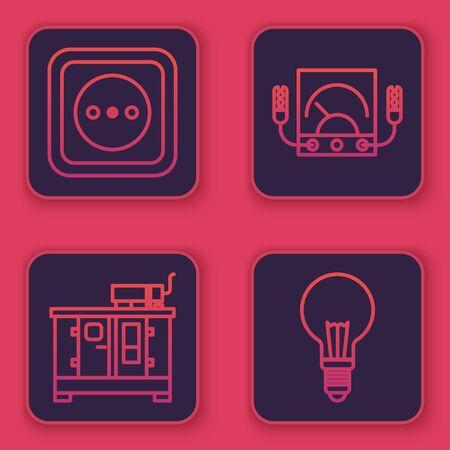 Establecer línea Toma de corriente, generador de energía diesel, amperímetro, multímetro, voltímetro y bombilla con concepto de idea. Botón cuadrado azul. Vector