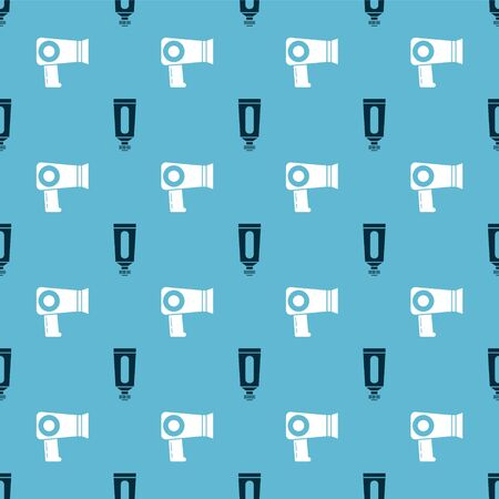 Set Cream or lotion cosmetic tube and Hair dryer on seamless pattern. Vector