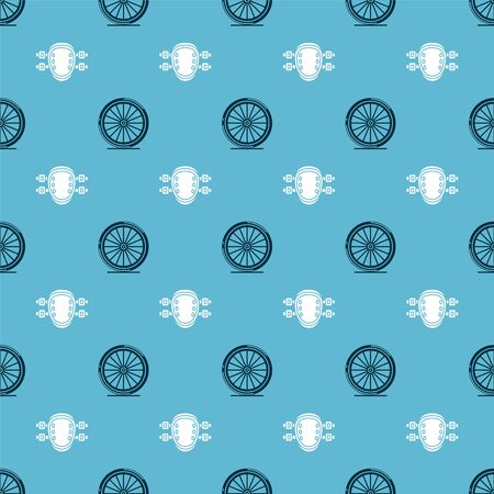 Set Bicycle wheel and Knee pads on seamless pattern. Vector Ilustração