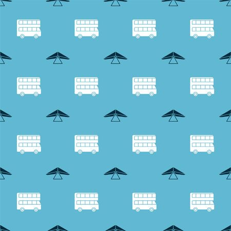 Set Hang glider and Double decker bus on seamless pattern. Vector
