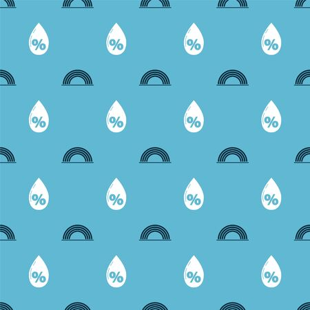 Set Rainbow with clouds and Water drop percentage on seamless pattern. Vector