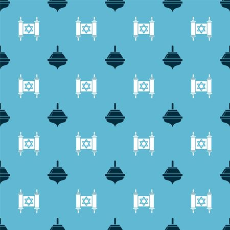 Set Hanukkah dreidel and Torah scroll on seamless pattern. Vector
