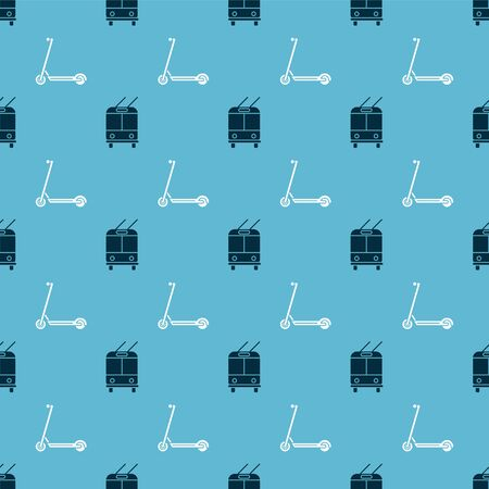 Set Trolleybus and Scooter on seamless pattern. Vector Illustration