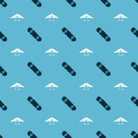 Set Skateboard and Hang glider on seamless pattern. Vector