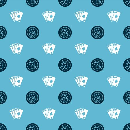 Set Glass of whiskey and ice cubes and Playing cards on seamless pattern. Vector