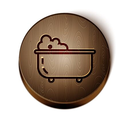 Brown line Baby bathtub with foam bubbles inside icon isolated on white background. Wooden circle button. Vector Illustration
