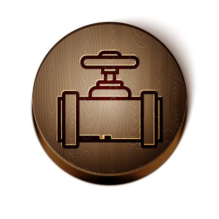 Brown line Industry metallic pipes and valve icon isolated on white background. Wooden circle button. Vector Illustration