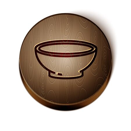 Brown line Bowl of hot soup icon isolated on white background. Wooden circle button. Vector Illustration