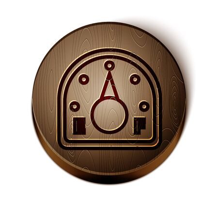 Brown line Motor gas gauge icon isolated on white background. Empty fuel meter. Full tank indication. Wooden circle button. Vector Illustration