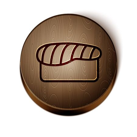Brown line Sushi icon isolated on white background. Traditional Japanese food. Wooden circle button. Vector Illustration