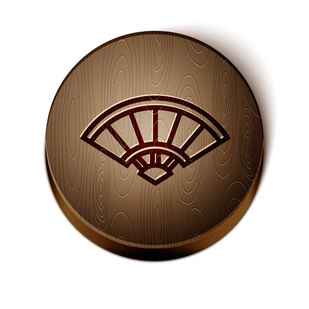Brown line Traditional paper chinese or japanese folding fan icon isolated on white background. Wooden circle button. Vector Illustration