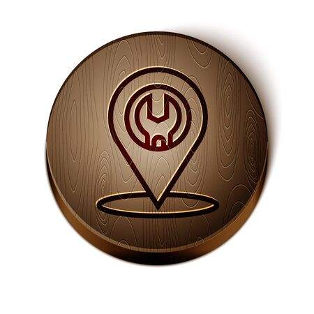 Brown line Car service icon isolated on white background. Auto mechanic service. Repair service auto mechanic. Maintenance sign. Wooden circle button. Vector Illustration