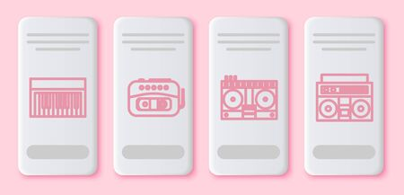 Set line Music synthesizer, Music tape player, DJ remote for playing and mixing music and Home stereo with two speakers. White rectangle button. Vector Illusztráció