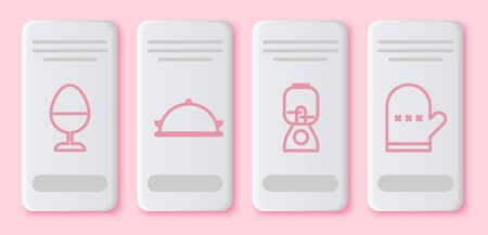 Set line Chicken egg on a stand, Covered with a tray of food, Blender and Oven glove. White rectangle button. Vector