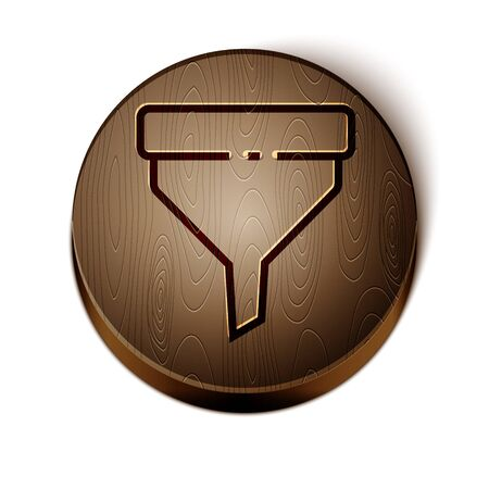 Brown line Funnel or filter icon isolated on white background. Wooden circle button. Vector Illustration Illustration