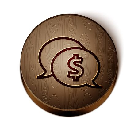 Brown line Speech bubble with dollar icon isolated on white background. Badge for price. Sale with dollar symbol. Promo tag discount. Wooden circle button. Vector Illustration