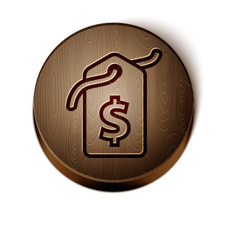 Brown line Price tag with dollar icon isolated on white background. Badge for price. Sale with dollar symbol. Promo tag discount. Wooden circle button. Vector Illustration