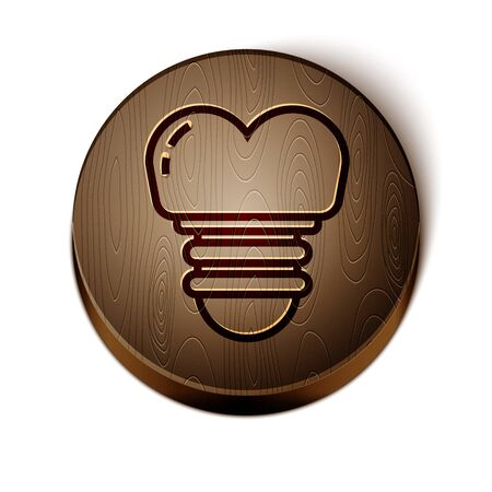 Brown line Dental implant icon isolated on white background. Wooden circle button. Vector Illustration