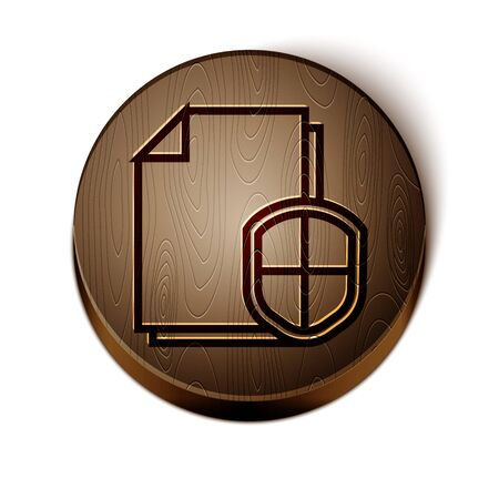 Brown line Document protection concept icon isolated on white background. Confidential information and privacy idea, secure, guard, shield. Wooden circle button. Vector Illustration