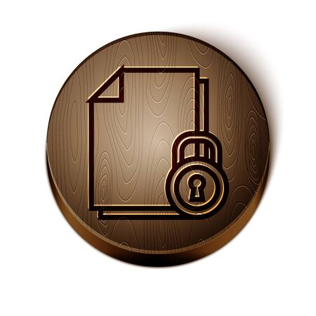 Brown line Document and lock icon isolated on white background. File format and padlock. Security, safety, protection concept. Wooden circle button. Vector Illustration