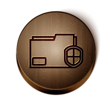 Brown line Document folder protection concept icon isolated on white background. Confidential information and privacy idea, guard, shield. Wooden circle button. Vector Illustration Illusztráció