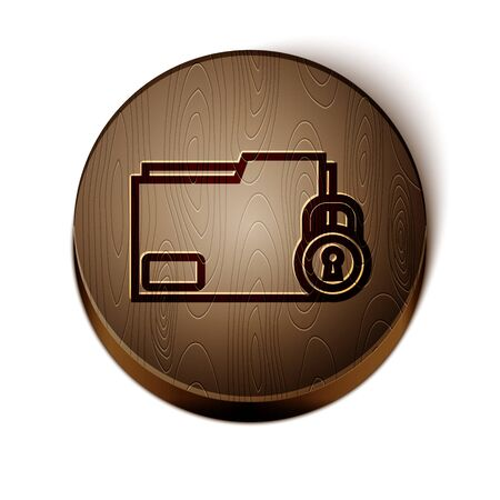 Brown line Folder and lock icon isolated on white background. Closed folder and padlock. Security, safety, protection concept. Wooden circle button. Vector Illustration